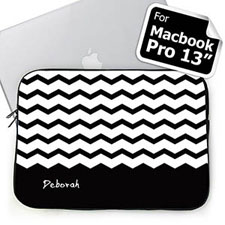 Personalized Name Black Chevron Macbook Pro 13 Sleeve (2015)
