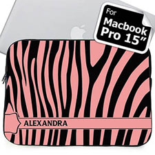 Custom Name Black & Pink Zebra Pattern Macbook Pro 15 Sleeve (2015)
