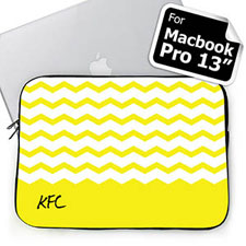 Personalized Name Yellow Chevron Macbook Pro 13 Sleeve (2015)