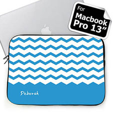 Personalized Name Sky Blue Chevron Macbook Pro 13 Sleeve (2015)