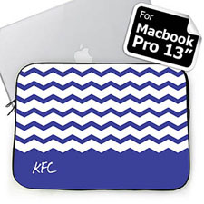 Custom Initials Blue Chevron Macbook Pro 13 Sleeve (2015)