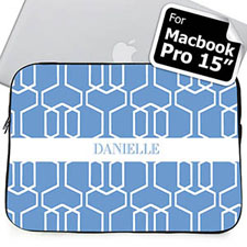 Custom Name Sky Blue Trellis MacBook Pro 15 Sleeve
