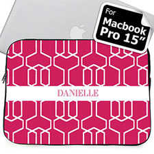 Custom Name Hot Pink Trellis Macbook Pro 15 Sleeve (2015)