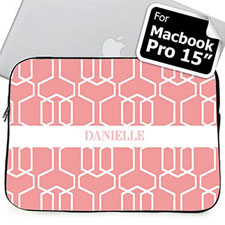 Custom Name Pink Trellis Macbook Pro 15 Sleeve (2015)