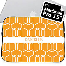 Custom Name Orange Trellis Macbook Pro 15 Sleeve (2015)