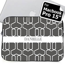 Custom Name Grey Trellis Macbook Pro 15 Sleeve (2015)