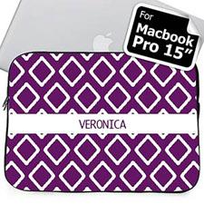 Custom Name Purple  Macbook Pro 15 Sleeve (2015)