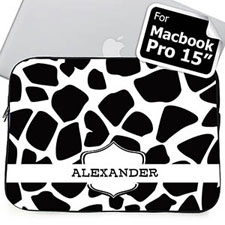 Custom Name Black Giraffe Pattern Macbook Pro 15 Sleeve (2015)