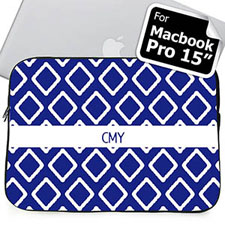 Custom Initials Blue  Macbook Pro 15 Sleeve (2015)