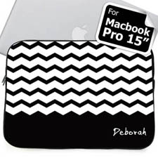 Custom Name Black Chevron MacBook Pro 15 Sleeve
