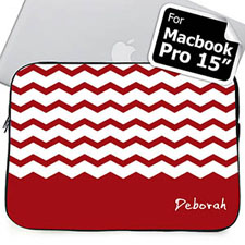 Custom Name Red Chevron Macbook Pro 15 Sleeve (2015)