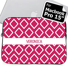 Custom Name Hot Pink Lkat Macbook Pro 15 Sleeve (2015)