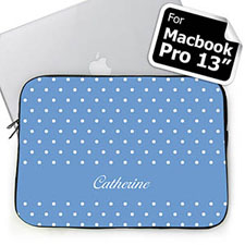 Custom Name Sky Blue Polka Dots Macbook Pro 13 Sleeve (2015)
