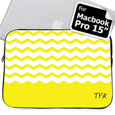 Custom Initials Yellow Chevron Macbook Pro 15 Sleeve (2015)