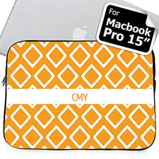 Custom Initials Orange Lkat Macbook Pro 15 Sleeve (2015)