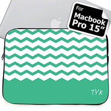 Custom Initials Mint Chevron Macbook Pro 15 Sleeve (2015)
