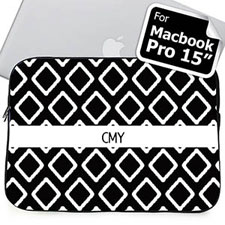 Custom Initials Black Lkat Macbook Pro 15 Sleeve (2015)