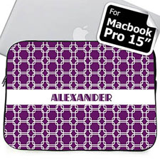 Custom Name Purple Links Macbook Pro 15 Sleeve (2015)
