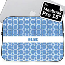 Custom Initials Sky Blue Links Macbook Pro 15 Sleeve (2015)