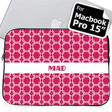 Custom Initials Hot Pink Links Macbook Pro 15 Sleeve (2015)