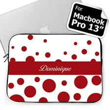 Custom Name Red Retro Circles Macbook Pro 13 Sleeve (2015)