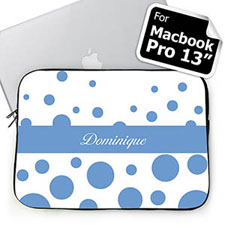 Custom Name Sky Blue Retro Circles Macbook Pro 13 (2015)