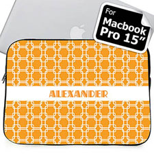 Custom Name Orange Links Macbook Pro 15 Sleeve (2015)