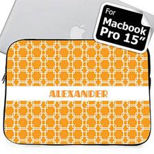 Custom Name Orange Links Macbook Pro 15 Sleeve (2015)