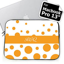 Custom Initials Orange Retro Circles Macbook Pro 13 Sleeve (2015)