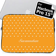 Custom Name Orange Polka Dots Macbook Pro 15 Sleeve (2015)