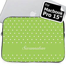 Custom Name Lime Polka Dots Macbook Pro 15 Sleeve (2015)