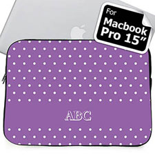 Custom Initials Lavender Polka Dots MacBook Pro 15 Sleeve