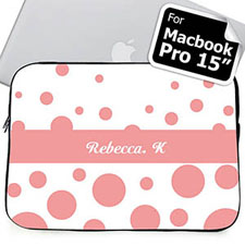 Custom Name Pink Retro Circles Macbook Pro 15 Sleeve (2015)