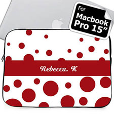 Custom Name Red Retro Circles Macbook Pro 15 Sleeve (2015)