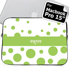 Custom Initials Lime Retro Circles Macbook Pro 15 Sleeve (2015)
