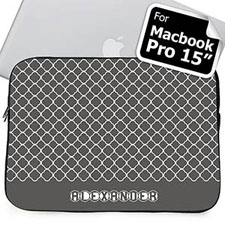 Custom Name Grey Quatrefoil Macbook Pro 15 Sleeve (2015)