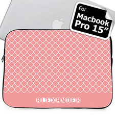 Custom Name Pink Quatrefoil Macbook Pro 15 Sleeve (2015)