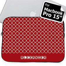 Custom Name Red Quatrefoil Macbook Pro 15 Sleeve (2015)