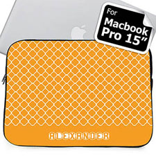 Custom Name Orange Quatrefoil Macbook Pro 15 Sleeve (2015)
