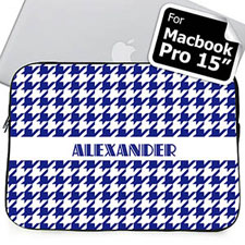 Custom Name Blue Houndstooth MacBook Pro 15 Sleeve