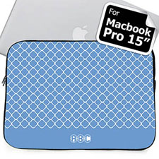 Custom Initials Blue Quatrefoil Macbook Pro 15 Sleeve (2015)