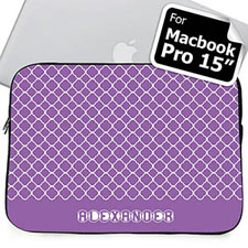 Custom Name Lavender Quatrefoil Macbook Pro 15 Sleeve (2015)