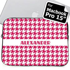Custom Name Hot Pink Houndstooth MacBook Pro 15 Sleeve
