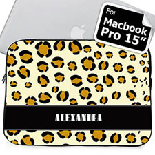 Custom Name Leopard Pattern Macbook Pro 15 Sleeve (2015)