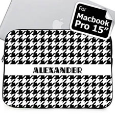 Custom Name Black Houndstooth MacBook Pro 15 Sleeve