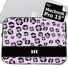 Custom Initials Purple Leopard Pattern MacBook Pro 15 Sleeve