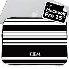 Custom Initials Black Stripes MacBook Pro 15 Sleeve