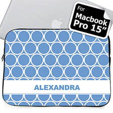 Custom Name Sky Blue Hoopla MacBook Pro 15 Sleeve