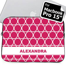 Custom Name Hot Pink Hoopla MacBook Pro 15 Sleeve