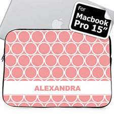 Custom Name Pink Hoopla MacBook Pro 15 Sleeve